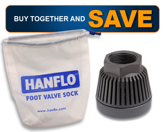 "1 1/4"" Hanflo Foot Valve & Filter Sock Combo"